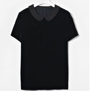 COS black velvet Peter Pan collar top